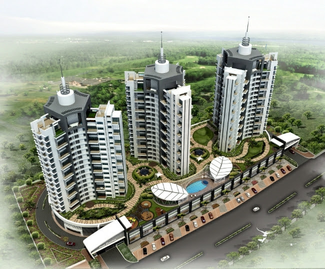 Top View of 15 Story 3 Towers of Park Grandeur - 3 & 4 BHK Homes, Penthouse & Duplex on Baner Balewadi Link Road - Baner Pune 411045