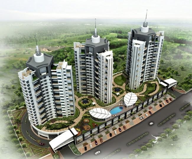 Top View of 15 Story 3 Towers of Park Grandeur - 3 & 4 BHK Homes, Penthouse & Duplex on Baner Balewadi Link Road - Baner Pune 411045