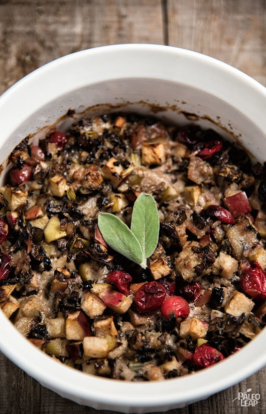 Sausage, Cranberry, and Apple Stuffing | Paleo Leap