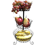Evelots 3 Tier Black Fruit Basket Kitchen