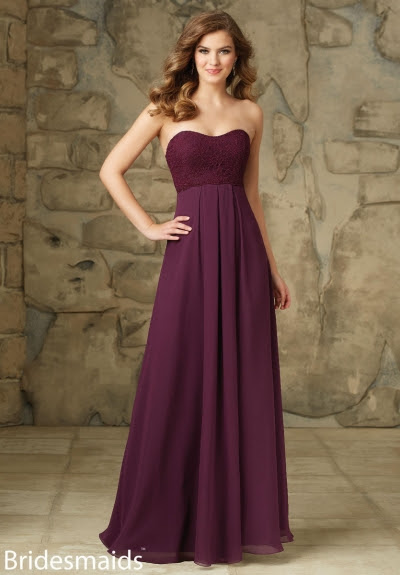 Hot Sale Eggplant Pleated Lace Bodice Long Chiffon Bridesmaid Dress 2016_3