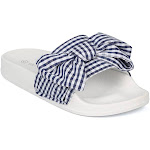 Wome Bow Tie Checker Plaid Gingham Footbed Sandal Slide