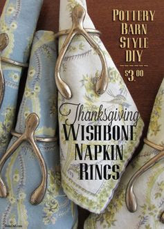 Looking for new Thanksgiving table ideas? Try this easy DIY for Pottery Barn Inspired Wishbone Napkin Rings (just glue and paint). They cost $118,50 at Pottery Barn or $3 each with this tutorial. BrenDid.com