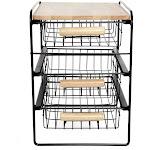 Origami Wood Top Steel Kitchen Organizer 3 Tier Basket Sliding Drawer, Black
