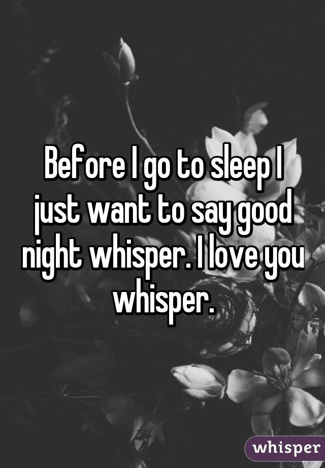 Before I Go To Sleep I Just Want To Say Good Night Whisper I Love You