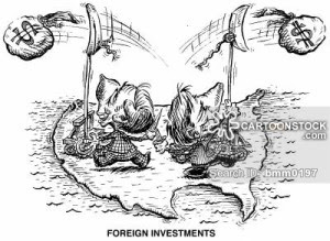 'Foreign Investments' Men catapulting money out of North America.