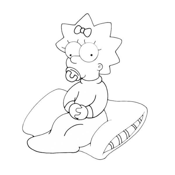 Disegno Di Maggie Simpson Da Colorare Per Bambini