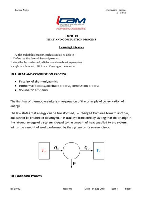 LECTURE NOTES BTE1013 HEAT AND COMBUSTION PROCESS