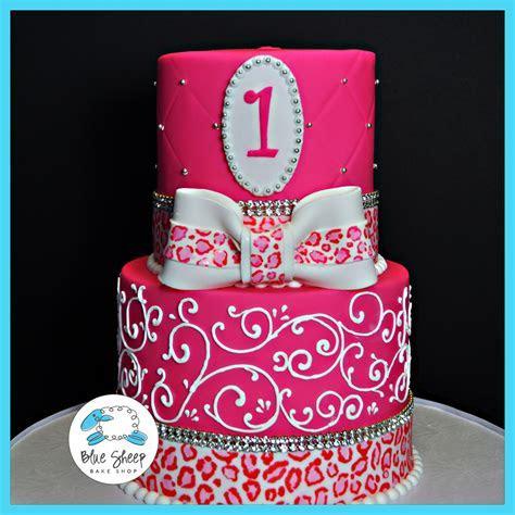 1st Birthday Princess with Leopard Print Cake ? Blue Sheep