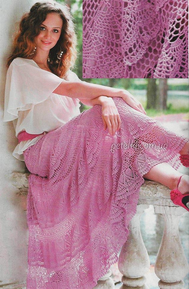 Crochet falda al suelo.  Descripción esquemas