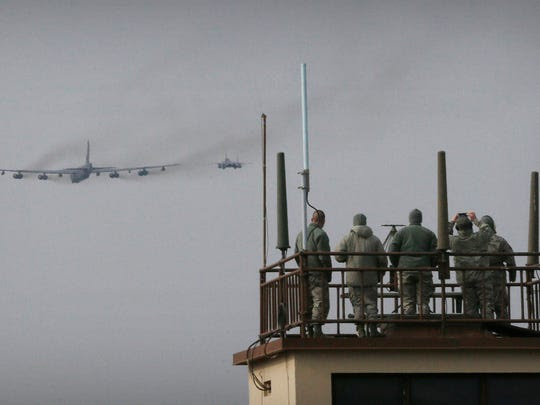 A U.S. Air Force B-52 bomber flies over Osan Air Base