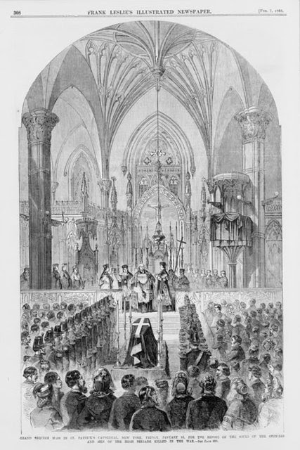 An 1863 grand requiem mass at St. Patrick's Cathedral in New York for the fallen soldiers of the Irish Brigade