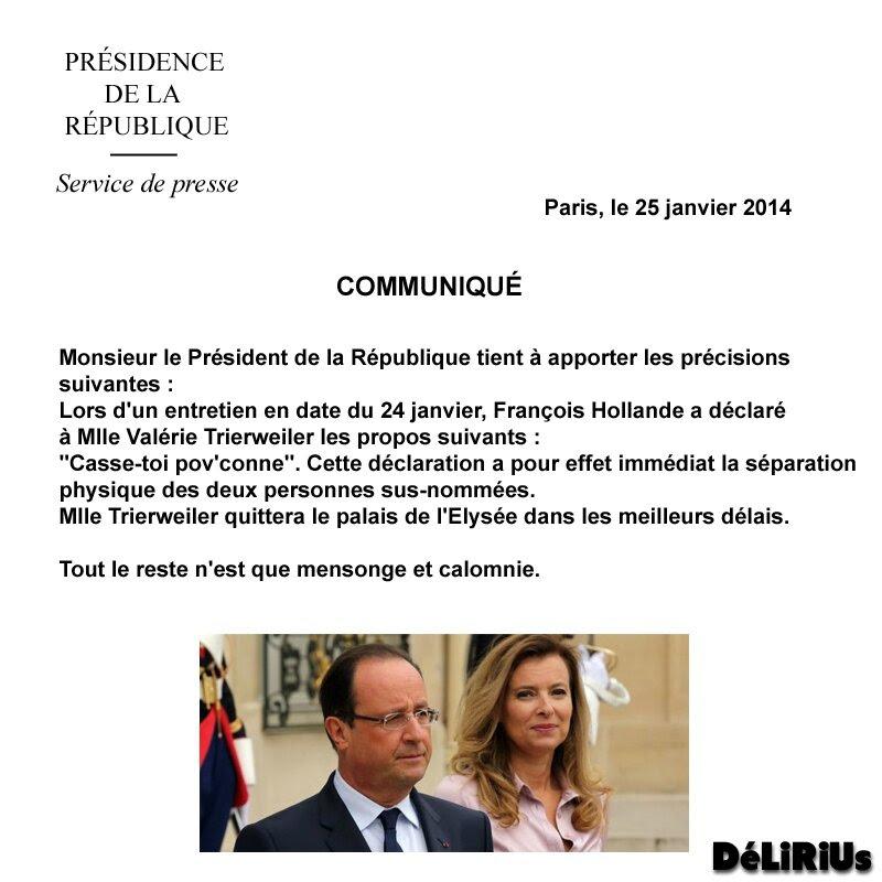 Hollande communiqué presse DéLiRiUs
