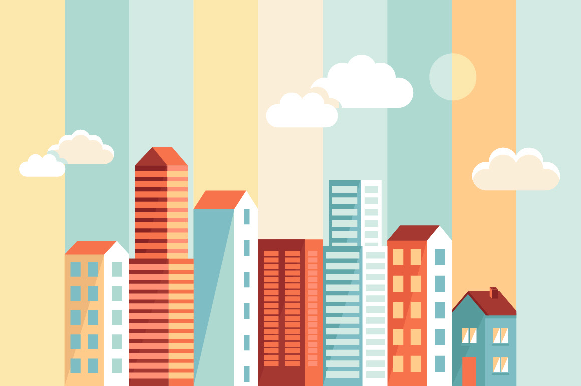 Flat city building vector material 01 free download