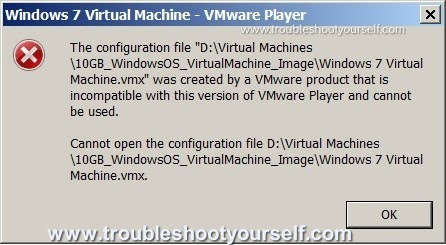 [Solved] VMWare player failed to load virtual OS image