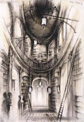 library scene sketch