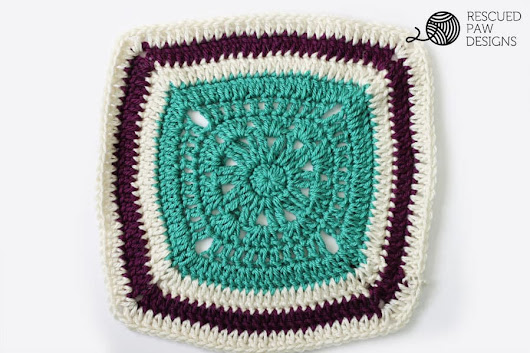 12 x 12 Free Crochet Blanket Square Pattern - Rescued Paw Designs