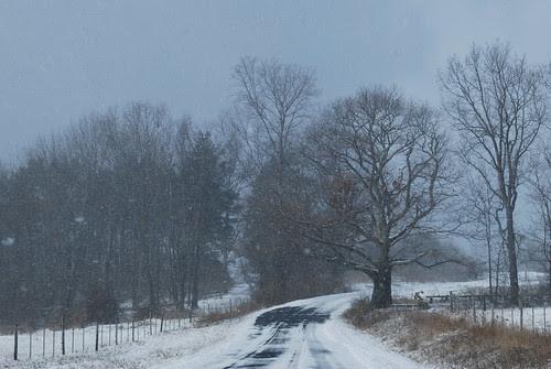 Monastery road in winter