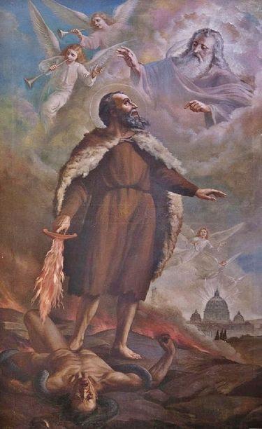 Le prophète St Elie - huile sur toile Italie XIXe s