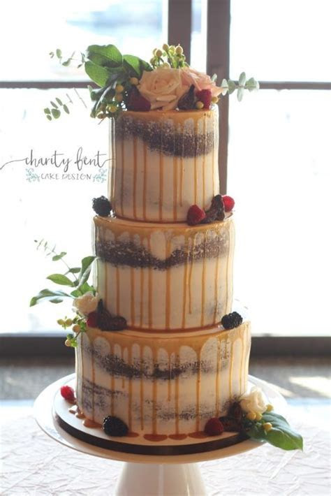 3 Tier Naked Cake With Caramel Drizzle » Charity Fent Cake