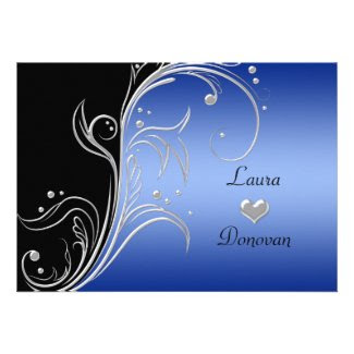 Blue Black Silver Floral Swirls Reception Only