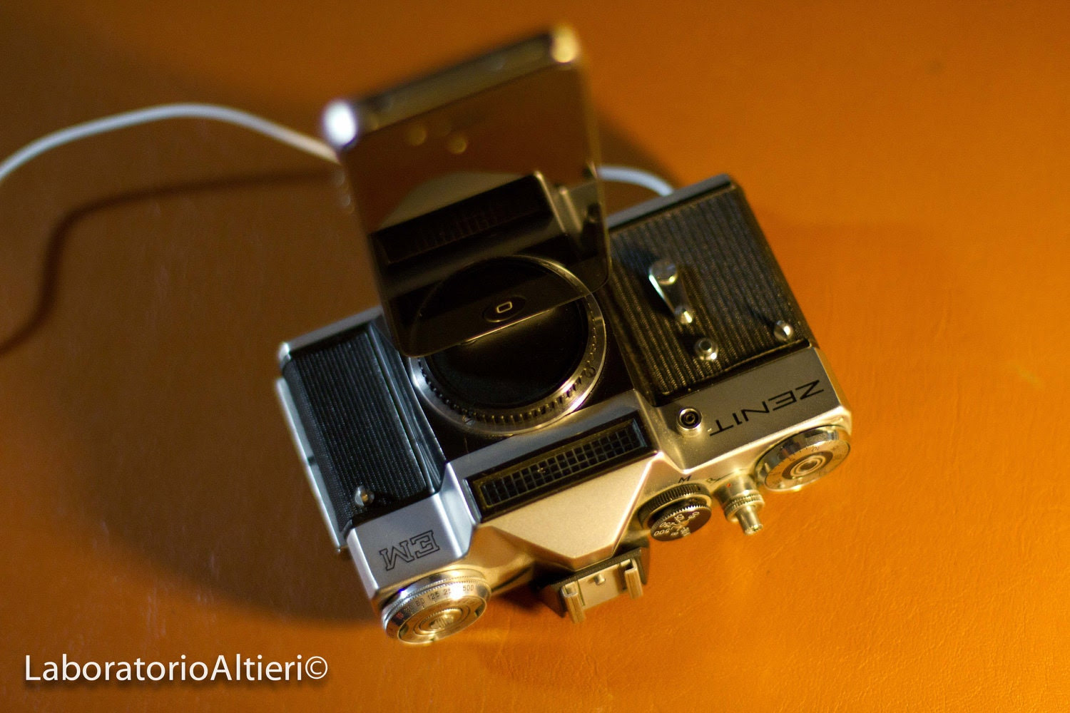 iPhone charger / dock from vintage camera - ZENIT