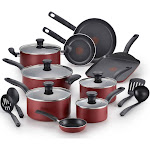 T-Fal Initiatives 18 pc. Nonstick Cookware Set - Red