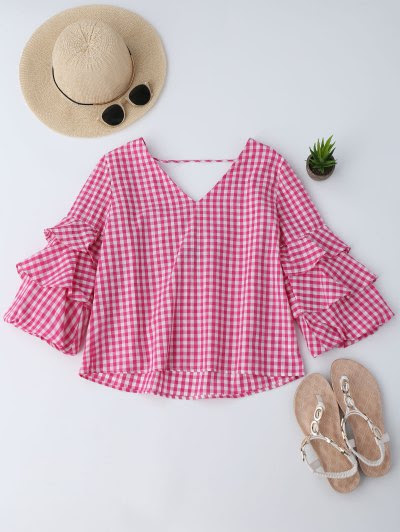 Zaful Layered Sleeve Ruffles Checked Blouse