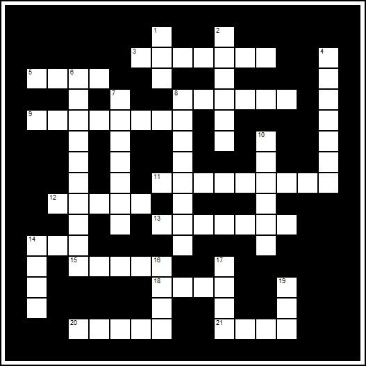 Generl Bible Knowledge Crossword Puzzle for Sunday School Lessons