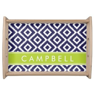 Navy and Green Ikat Diamonds Custom Monogram Food Trays
