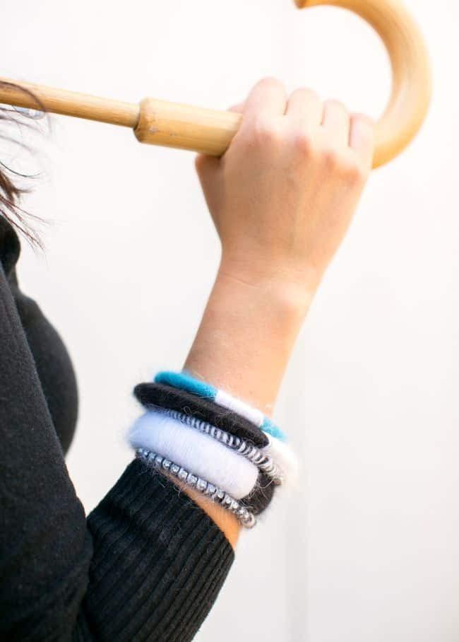 DIY Color Block Angora Bracelets | Henry Happened
