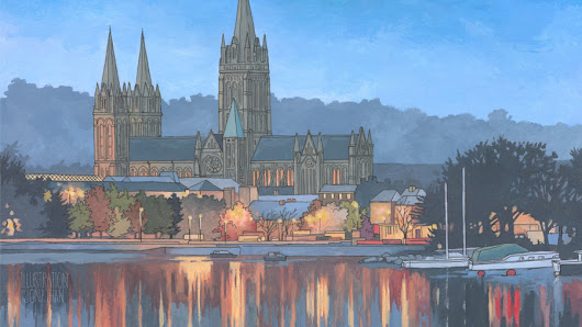 Truro Cathedral in Blue - Illustration by Jonathan Chapman