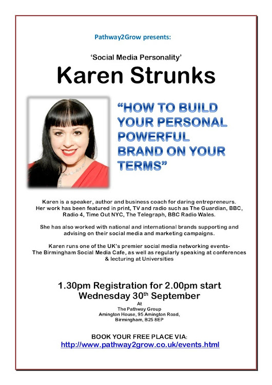 Pathway2grow guest speaker flyer Karen Strunks in September 2015