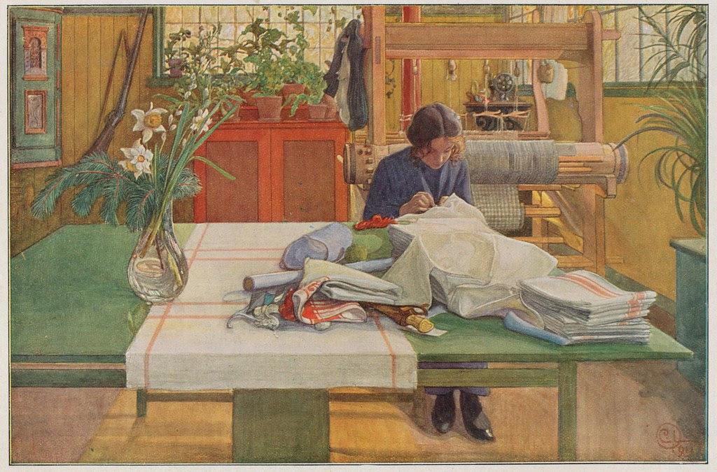 Carl Larsson,  naaiend meisje 1911  JPG