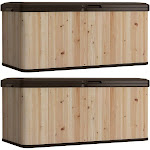 Suncast 120 Gallon Extra Large Hybrid Deck Box w/ Resin Floor and Lid (2 Pack) by VM Express