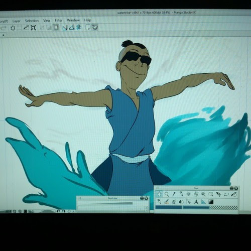 Another local commission WIP stacked on top of others. waiting for the client to decide on the prefered water effect before continuing that spot. #digicember #avatarthelastairbender #sokka #watertribe