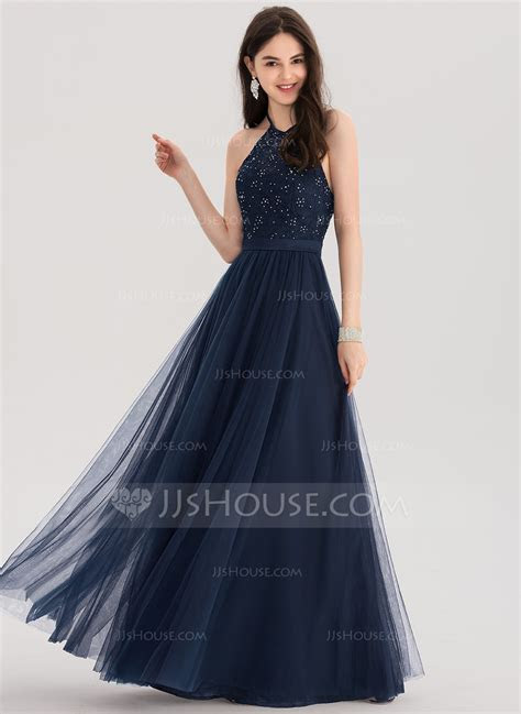lineprincess halter floor length tulle prom dresses