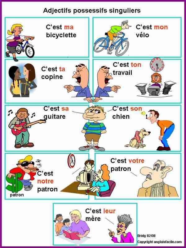 Zaimki przymiotne dzierżawcze - gramatyka 7 - Francuski przy kawie