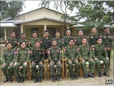 The defector, Sai Thein Win, is second from the left in this DVB picture