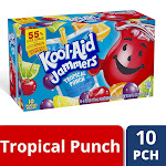 Kool-Aid Jammers Tropical Punch Flavored Drink, 10 ct - Pouches, 60 Ounce