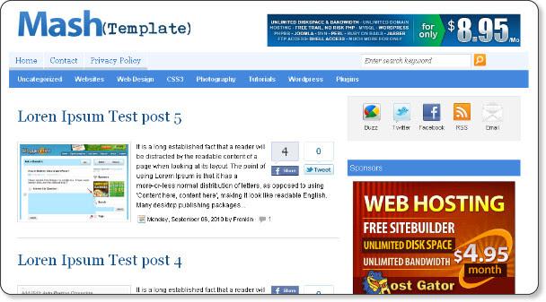 mashable template blogger