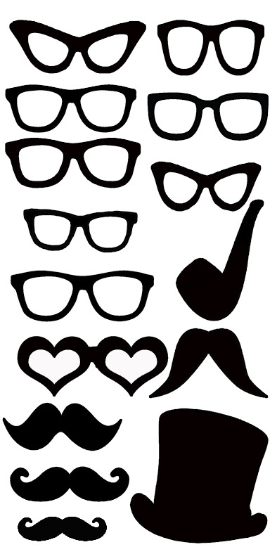 Mini glasses moustache pipe and hat 100 x 150 sold in 3\'s
