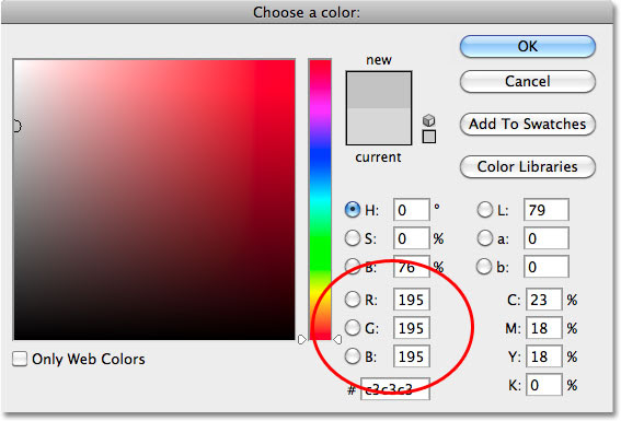 The Color Picker in Photoshop. Image © 2010 Photoshop Essentials.com.
