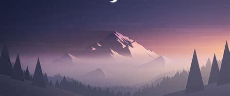 mountains moon trees minimal full hd  wallpaper