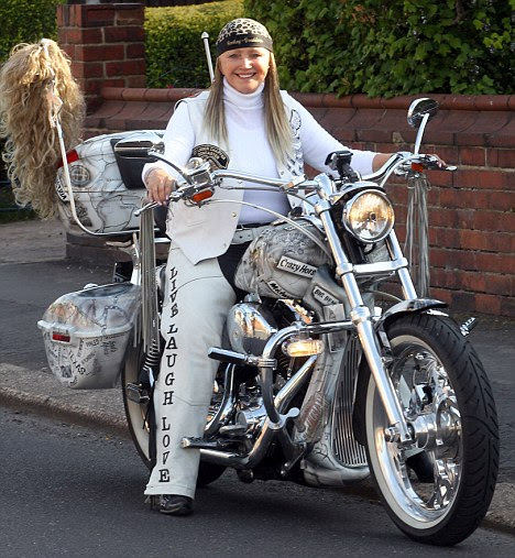 Sue O'Grady on her Harley Davidson