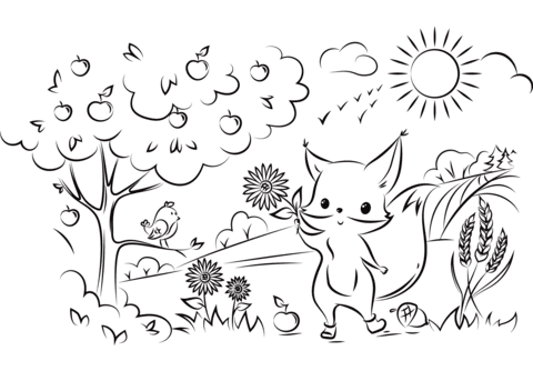 Cute Fox With Flower Coloring Page Free Printable Coloring Pages