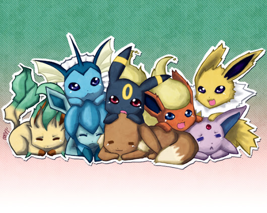 Image: eevee and evolution by hensome on DeviantArt