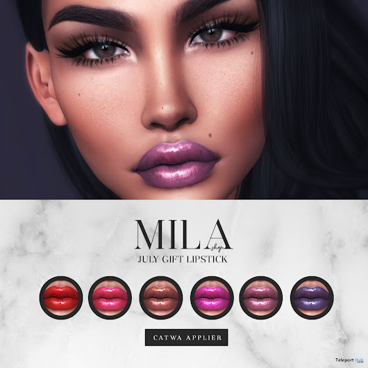 Lipsticks Pack For Catwa Head July 2018 Group Gift by MILA Poses | Teleport Hub - Second Life Freebies