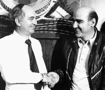 Waldemar Pires, presidente do Corinthians, e Mario Travaglini (1981) (Foto: Agência Estado)