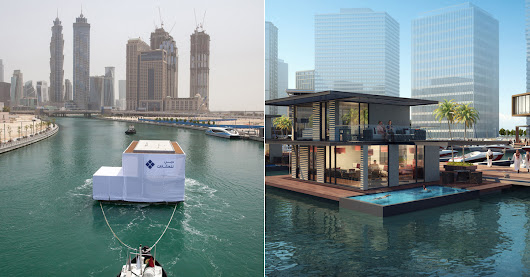 Yes, that is an actual villa floating along the Dubai Canal